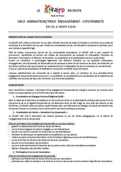 Offre de poste Anim engagement-citoyenneté Crajephdf (1)